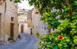 Maltese streets, Valletta, Malta. Focus on the old house in the. Back Royalty Free Stock Image