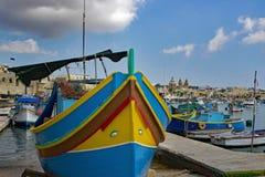Maltese Traditional Fishing Boat Luzzu stock photography