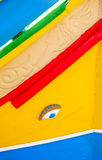 Maltese traditional Luzzu boat, Marsaxlokk, Malta. Detail Stock Photo