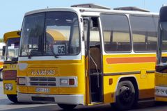 Maltese vintage bus. Old Maltese bus, main bus terminus at City Gate Square - Valetta, Malta Royalty Free Stock Photos