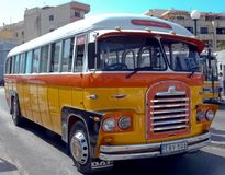 Maltese vintage bus. Old Maltese bus, main bus terminus at City Gate Square - Valetta, Malta Stock Photography