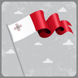 Maltese wavy flag. Vector illustration. Stock Image