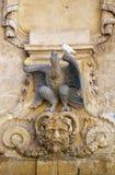 Malteses在圣乔治` s正方形的猎鹰fontain, Vallette, Mal 免版税库存图片