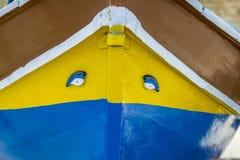 Maltesisches traditionelles Luzzu-Boot an Marsaxlokk-Hafen in Malta Lizenzfreie Stockfotografie