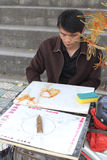 Maltose draw. Chinese entertainer painting with hot maltose, amoy city Stock Photos