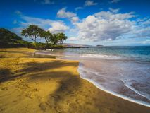 Maluaka Beach. Calm waves at Maluaka Beach on a sunny day with shadows of palm trees cast onto the sand, Maui, Hawaii Royalty Free Stock Photography