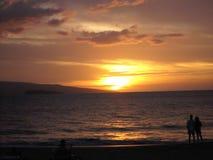Maluaka beach. Sunset at Maluaka beach in Maui (Hawaii Royalty Free Stock Photo