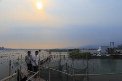 Maluan bay fishing ground dusk. Maluan bay fishing ground, amoy city, china Royalty Free Stock Image