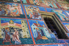 Malująca ściana przy Arbore monasterem, Bucovina zdjęcia stock