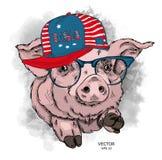 Malująca śmieszna świnia w kapeluszu z USA szkłami i flaga również zwrócić corel ilustracji wektora Może używać jako druk na ubra royalty ilustracja