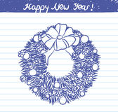 Malująca Bożenarodzeniowa wianek ilustracja dla nowego roku nakreślenia na szkolnym notatniku Zdjęcia Royalty Free