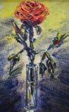 Malująca czerwieni róża w szklanej wazie ilustracji