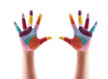 malująca dziecko ręka fotografia stock