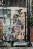 Malująca dziecko sztuki koszykówka na betonowej ścianie dla ulicy George Town Penang malaysia Obraz Stock