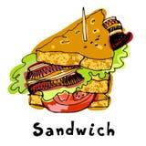 Malująca kanapka z chlebową pomidorową baleronu bekonu sałatą Zdjęcia Royalty Free
