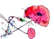 Malująca kwitnąca czerwona maczek akwarela ilustracja wektor