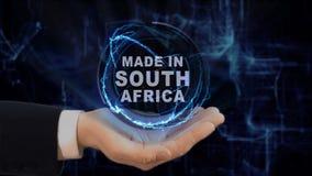 Malująca ręka pokazuje pojęcie hologram Robić w Południowa Afryka jego ręka Zdjęcie Stock