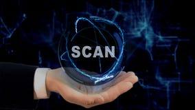Malująca ręka pokazuje pojęcie holograma obraz cyfrowego na jego ręce Obraz Stock