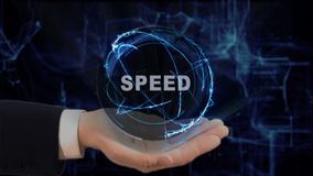 Malująca ręka pokazuje pojęcie holograma prędkość na jego ręce Obraz Royalty Free