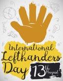 Malująca ręka z Doodles Świętować Międzynarodowego Lewego Handers dzień, Wektorowa ilustracja royalty ilustracja