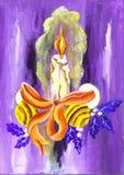 malujący świeczek boże narodzenia Zdjęcie Royalty Free