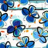 Malujący abstractflowerl bezszwowy deseniowy tło, Ilustracja Wektor