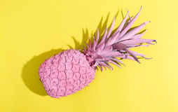 Malujący ananas na jaskrawym tle obraz royalty free