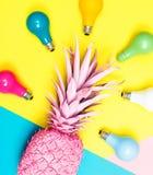 Malujący ananas z żarówkami zdjęcie royalty free