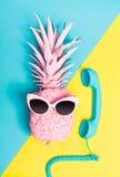 Malujący ananas z okularami przeciwsłonecznymi zdjęcia royalty free