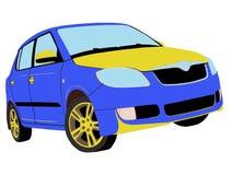 Malujący błękitny, żółty samochód/ Fotografia Stock