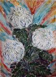 Malujący bukiet biali kwiaty z kolorowym tłem ilustracji