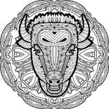 Malujący byk na tle kurenda wzór Barwić stronę Obrazy Royalty Free