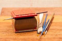 Malujący, drewniani mali pudełka dla wieloskładnikowych purposes, i klejnoty Obraz Royalty Free