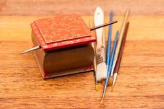 Malujący, drewniani mali pudełka dla wieloskładnikowych purposes, i klejnoty Fotografia Royalty Free