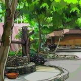 Malujący lata podwórze z roślinami z budynkami i kamieniem dobrze ilustracji