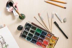 Malujący narzędzia ustawiających projektant Obrazy Stock