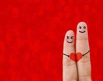 Malujący palcowy smiley, valentine dnia pojęcie Zdjęcia Stock