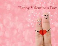 Malujący palcowy smiley, valentine dnia pojęcie Zdjęcia Royalty Free