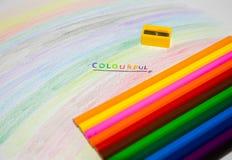 Malujący papier z colour ołówkiem Obrazy Stock