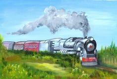 malujący pociąg Zdjęcia Royalty Free