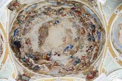 Malujący Podsufitowy opactwo kościół Neresheim Zdjęcia Royalty Free