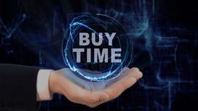 Malujący ręk przedstawień pojęcia holograma zakupu czas na jego ręce Zdjęcie Stock