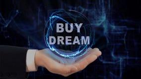 Malujący ręk przedstawień pojęcia holograma zakupu sen na jego ręce Obrazy Royalty Free