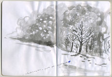 Malujący Sketchbook - śnieg Fotografia Stock