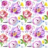 Malujący wildflower kwitnie tło wzór w akwarela stylu obraz stock