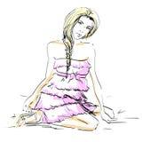 Malująca dziewczyna w sukni Zdjęcia Royalty Free