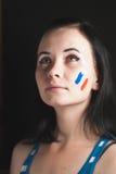 Malująca kobiety twarz z flaga Francja Obraz Royalty Free