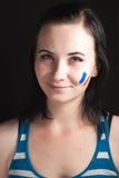Malująca kobiety twarz z flaga Francja Zdjęcie Stock