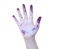 Maluje, błękit, ręka, dziecko upaćkany, odizolowywający, brudny, zabawa, preschool, rzemiosło, niewinność, jaskrawa, symbol, ręka Obraz Stock