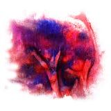 Maluje pluśnięcie atramentu błękit, pomarańcze, Burgundy kleksa i białego abstrac, Zdjęcia Royalty Free